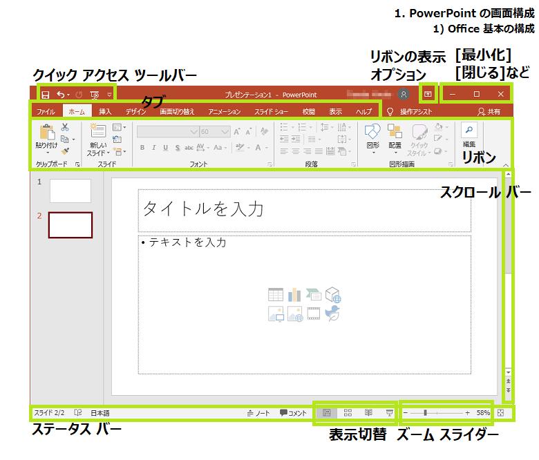 Officeの画面構成