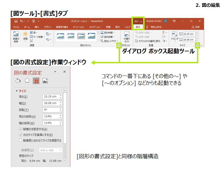 図の編集、図ツール-書式タブ